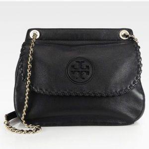 Tory Burch Marion Black Genuine Leather Saddle Bag